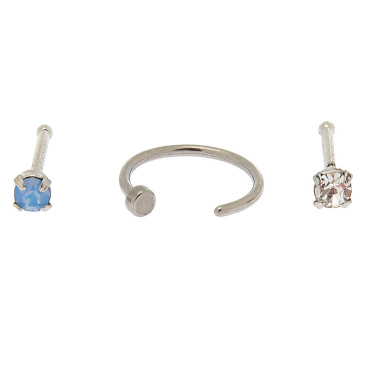 Silver 20G Cloudy Stone Nose Studs + Ring - 3 Pack,