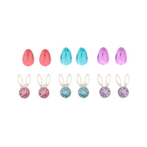Silver Egg Bunny Stud Earrings - 6 Pack,