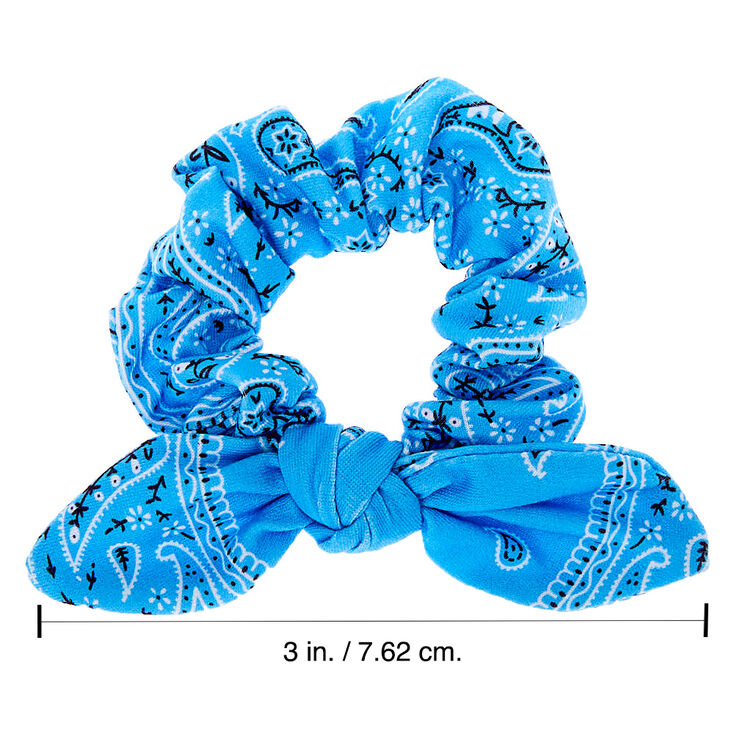Small Bandana Knotted Bow Hair Scrunchie - Light Blue,