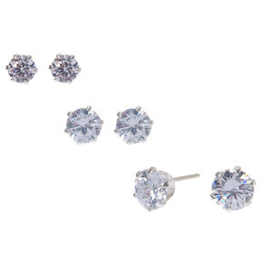Sterling Silver Cubic Zirconia Round Stud Earrings - 4MM, 5MM, 6MM,