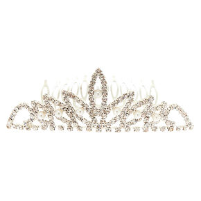 Silver Glass Rhinestone Lotus Peak Tiara Hair Comb,