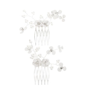 Floral Crystal & Pearl Hair Comb - White,