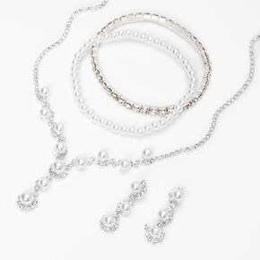 Silver Bubble Pearl Jewelry Set- 3 Pack,