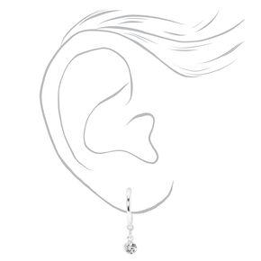 Silver Embellished Geometric Stud & Hoop Earrings - 6 Pack,