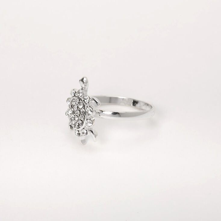 Silver Embellished Turtle Ring,