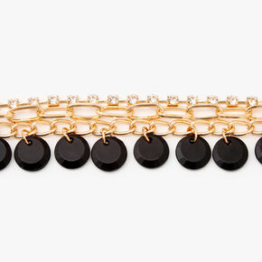 Gold Rhinestone Disc Chain Link Bracelet - Black,