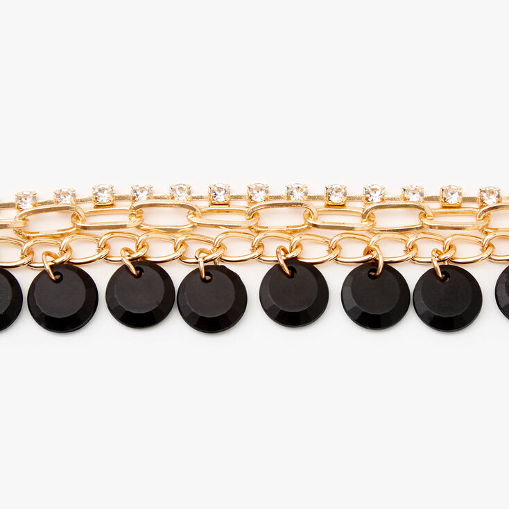 Gold Rhinestone Disc Chain Link Bracelet - Black,