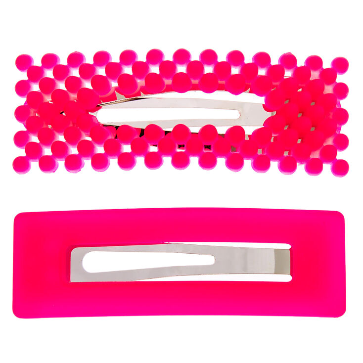 Beaded Matte Rectangle Snap Hair Clips - Neon Pink, 2 Pack,