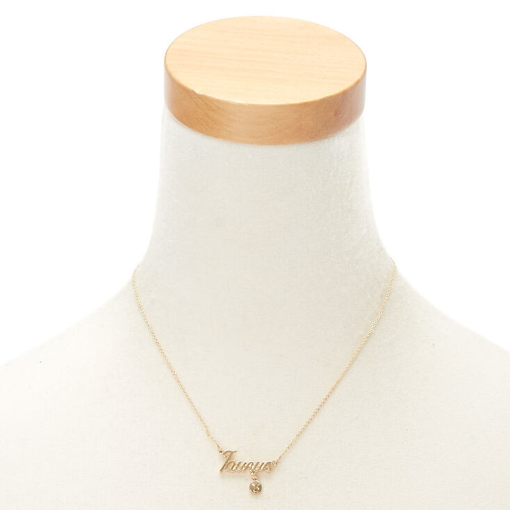 Gold Zodiac Pendant Necklace - Taurus,