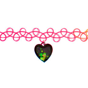 Rainbow Mood Heart Tattoo Choker Necklace,