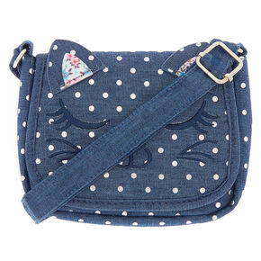 Claire's Club Denim Cat Crossbody Bag - Navy,