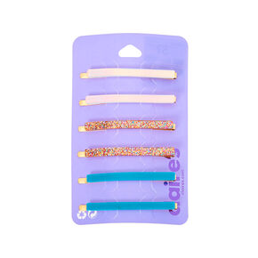 Holographic Rainbow Glitter Hair Pins -Blue, 6 Pack,
