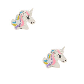Silver Pretty Pastel Unicorn Stud Earrings,