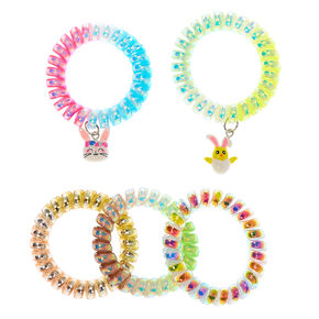 Holographic Easter Charm Spiral Hair Ties - 5 Pack,