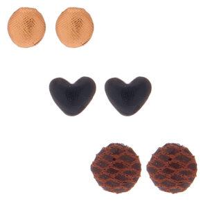 Button Stud Earrings - 3 Pack,
