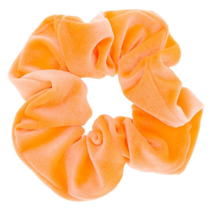 Medium Velvet Hair Scrunchie - Neon Orange,