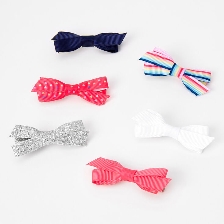Claire's Club Mixed Ribbon Hair Bow Clips - 6 Pack,