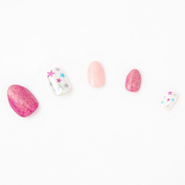 Stars and Glitter Stiletto Press On Faux Nail Set - 24 Pack,