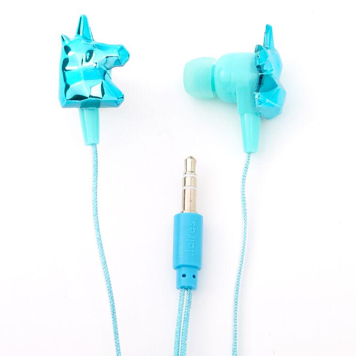 Metallic Unicorn Earbuds with Mic - Turquoise,