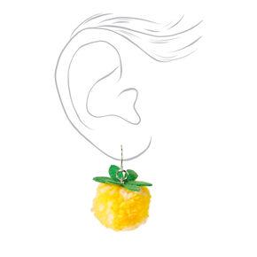 """1"""" Pineapple Pom Pom Drop Earrings - Yellow,"""