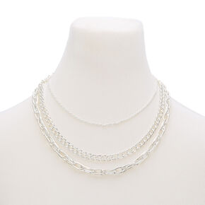 Silver Chain Multi Strand Necklace,