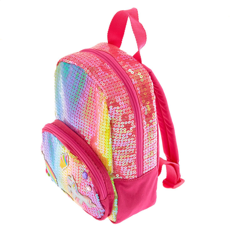 Claire's Club Rainbow Unicorn Sequin Small Backpack,