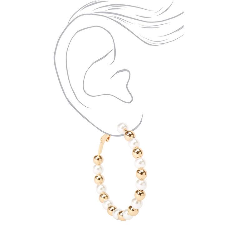 Gold 40MM Beaded Pearl Hoop Earrings - Ivory,