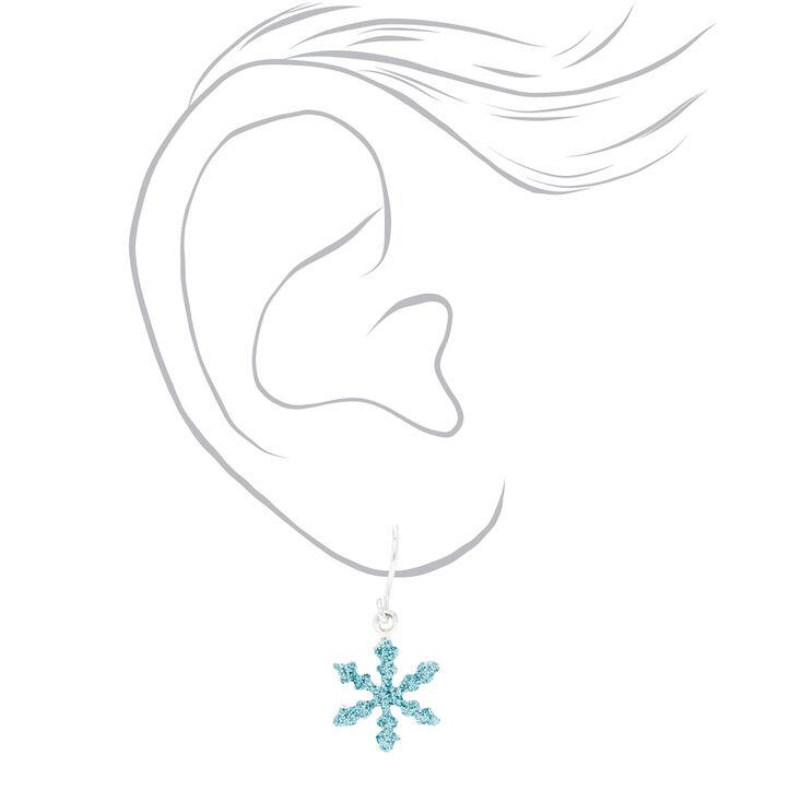 "Silver 0.5"" Glitter Snowflake Drop Earrings - 3 Pack,"