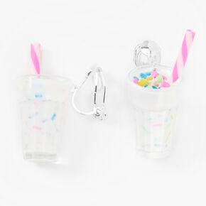 """Silver 0.75"""" Rainbow Sprinkles Milkshake Clip On Drop Earrings,"""