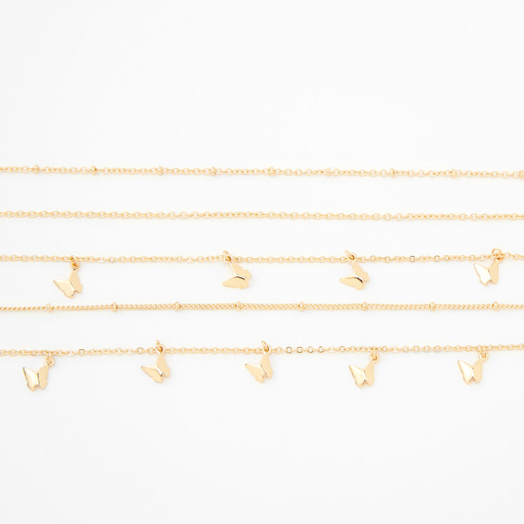 Gold Butterfly Choker Necklaces - 5 Pack,