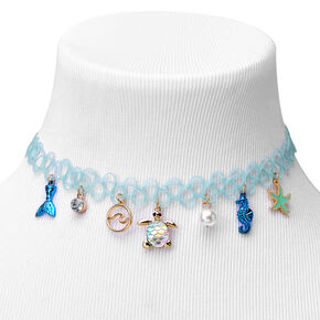 Sea Creature Tattoo Choker Necklace - Blue,