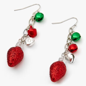 "Silver 2"" Jingle Bell Lights Drop Earrings,"