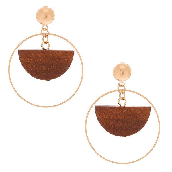 "Claire's - 1.5"" wood half moon drop earrings - 1"