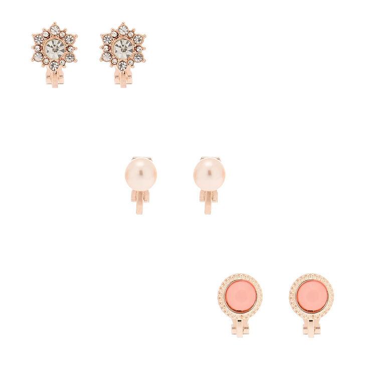 Claire's Lot de 3 paires de clous d'oreille à clip couleur doré rose