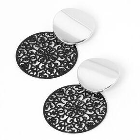 Black Filigree Discs Drop Earrings - Silver,