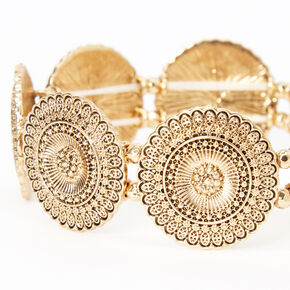 Gold Filigree Medallion Stretch Bracelet,