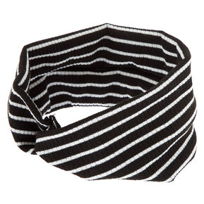 Striped Ribbed Twisted Headwrap - Black,