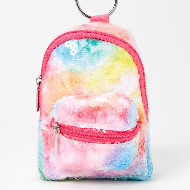 Porte-clés mini sac à dos sequins tie-dye,