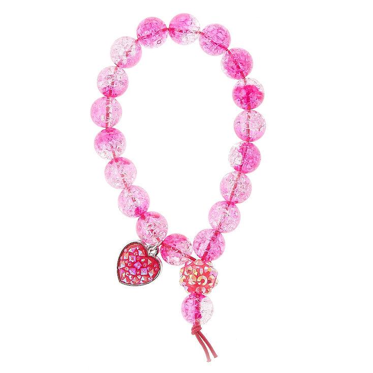 Bracelet élastique rose à perle d'imitation craquelées avec breloque coeur,