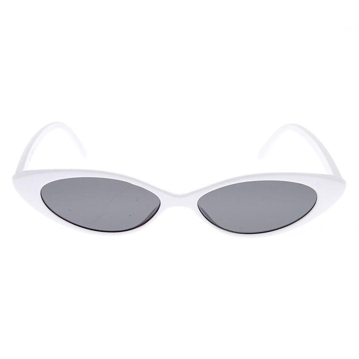 Slim Cat Eye Sunglasses - White,