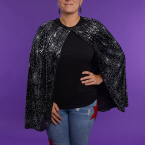Spider Webs Velvet Cape - Black,