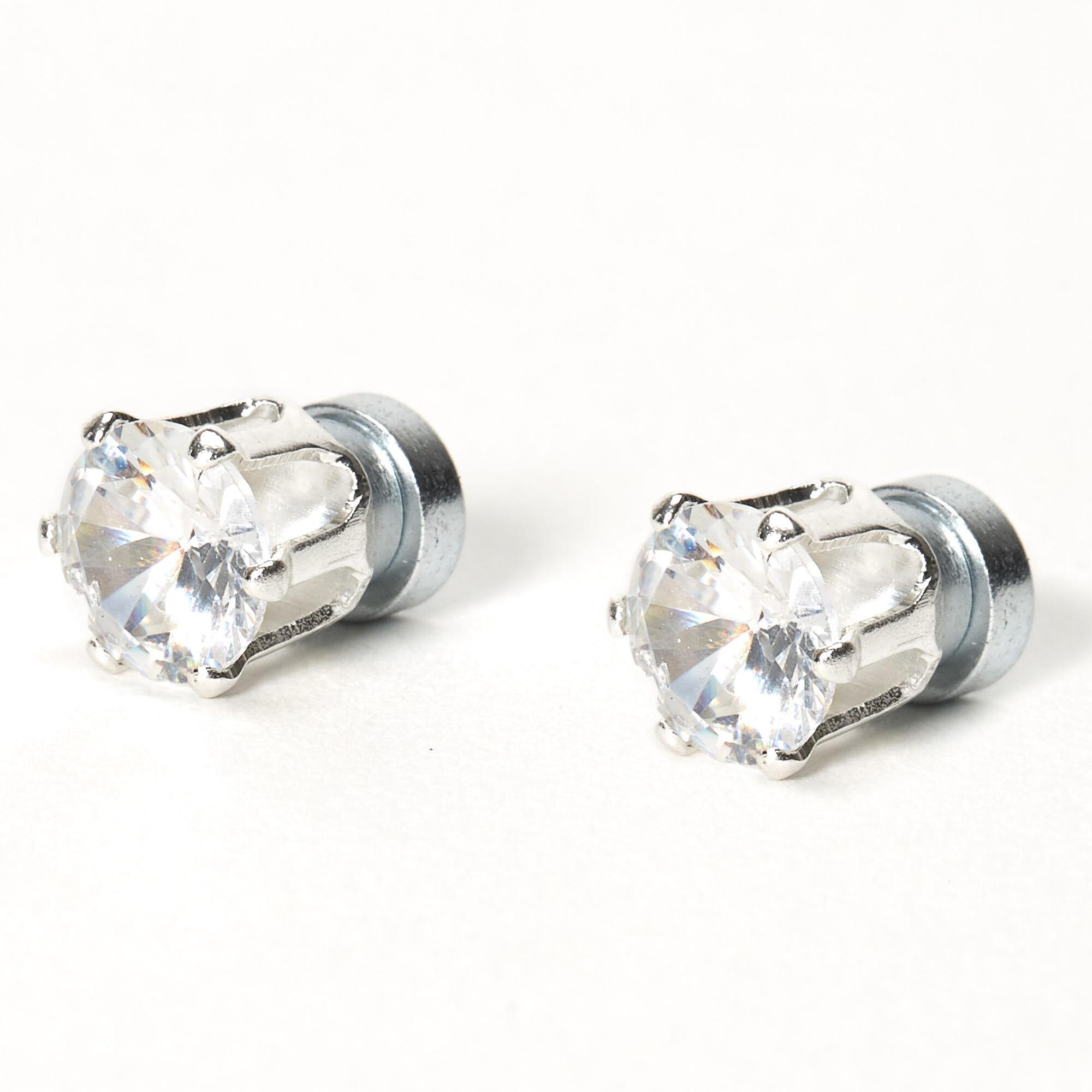 Sterling Silver Reversible 10mm Synthetic Shell Pearl /& 6mm CZ Stud Earrings