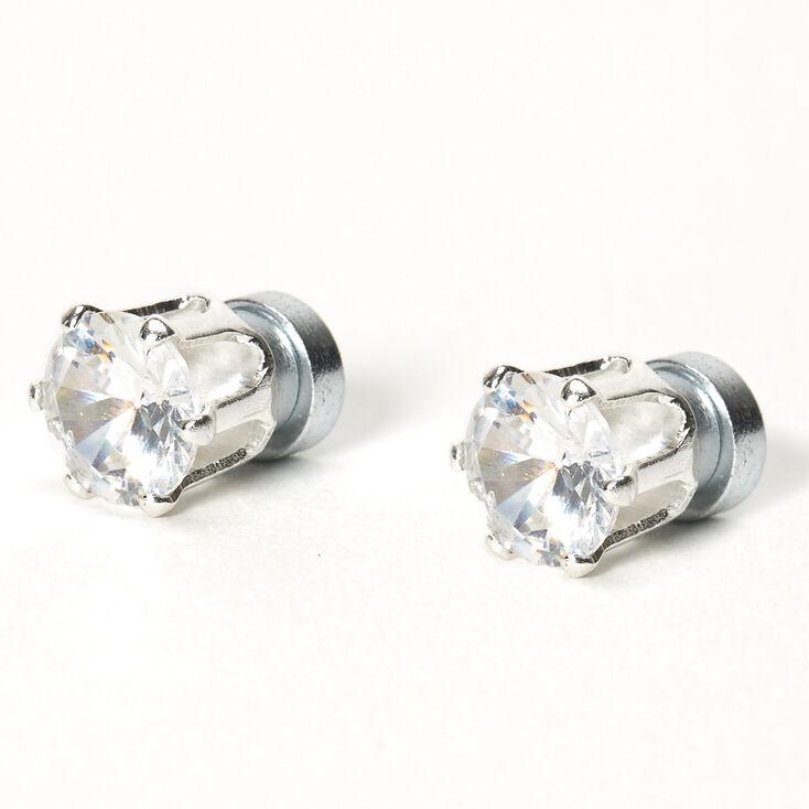 Clous d'oreilles ronds aimantés 6mm en zircon cubique d'imitation couleur argentée,