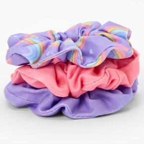 Claire's Club Purple Rainbow Scrunchies - Purple, 3 Pack,