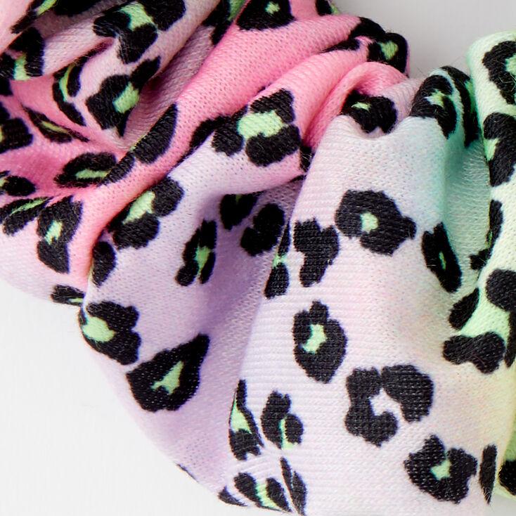 Medium Pastel Rainbow Leopard Hair Scrunchie,