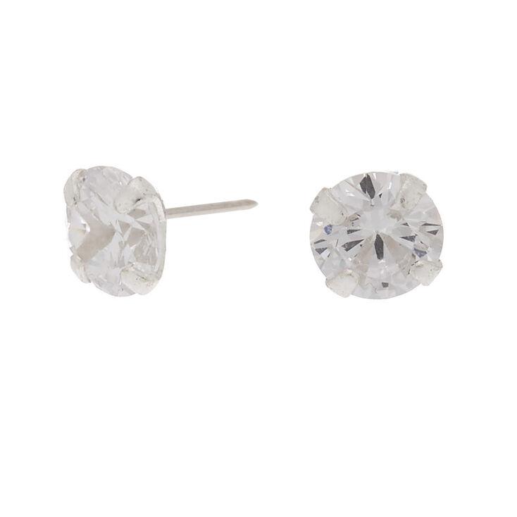 Silver 5mm Cubic Zirconia Stud Earring