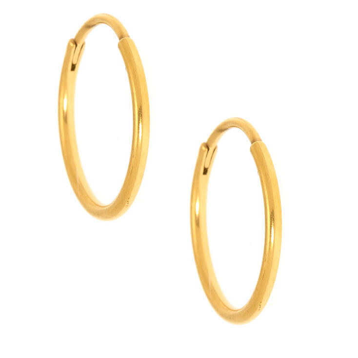 Gold Titanium 12MM Sleek Hoop Earrings,