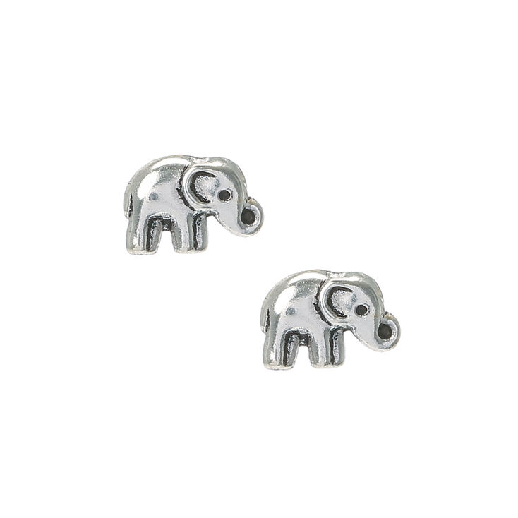 Sterling Silver Boho Elephant Stud Earrings,