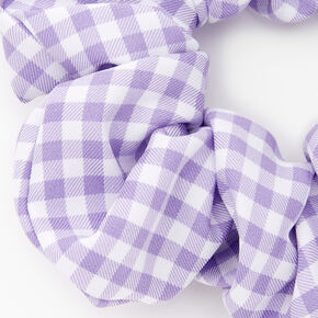 Medium Gingham Stripe Hair Scrunchie - Lilac,