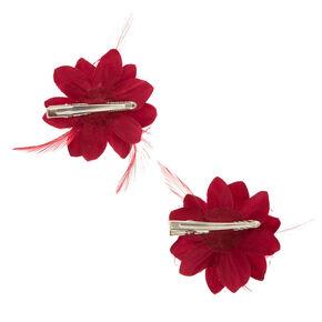 491e947e5820 Pinces à cheveux fleur de lys et plumes bordeaux